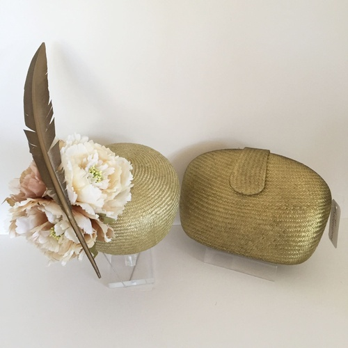 Fascinator Original Design 30 & Clutch - Gold/Floral