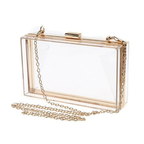Clutch/Acrylic Box/Clear - Gold
