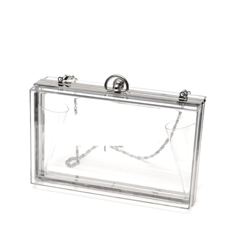 Clutch/Acrylic Box/Clear - Silver