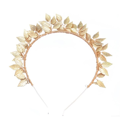 Metal Leaf Headband - Gold
