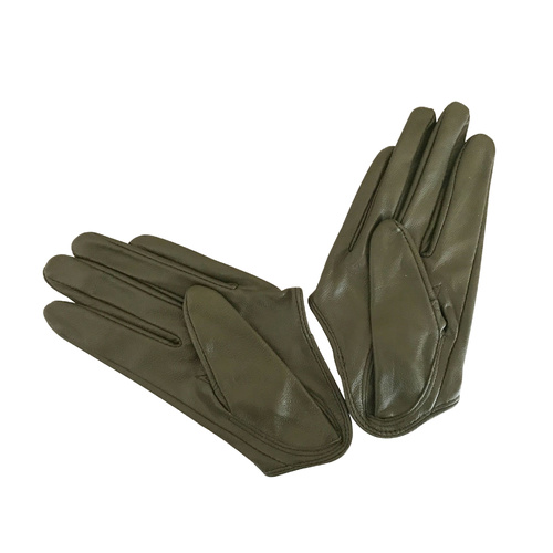 Gloves/Driving/Leather - Olive Green