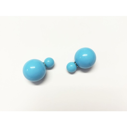 Earring/Double Bubble - Gloss Blue
