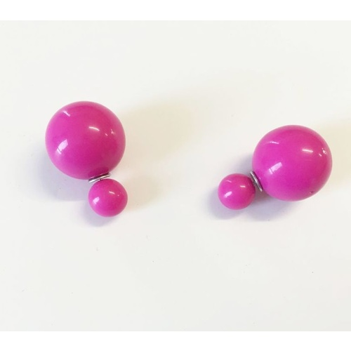 Earring/Double Bubble - Gloss Fuchsia