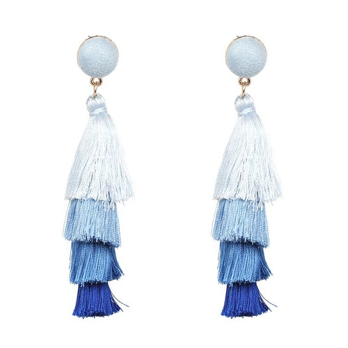 Earring/Teared Tassel - Blues