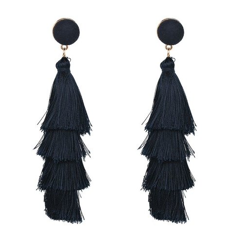 Earring/Teared Tassel - Dark Navy