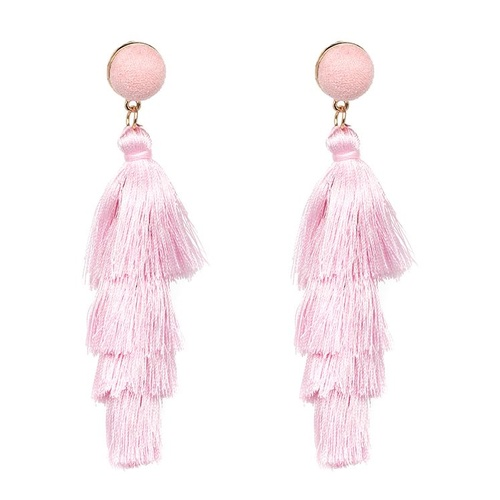 Earring/Teared Tassel - Pale Pink