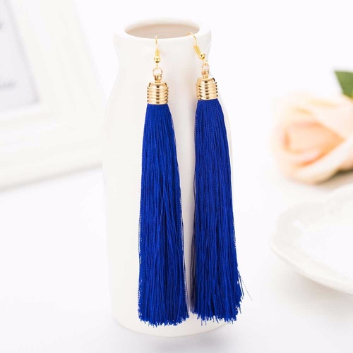 Earring/Long Tassel - Royal Blue