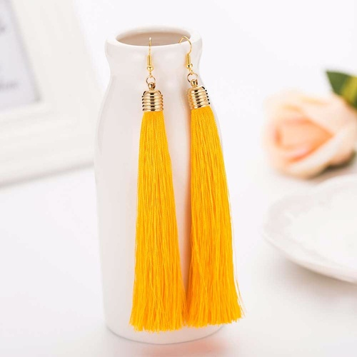 Earring/Long Tassel - Yellow