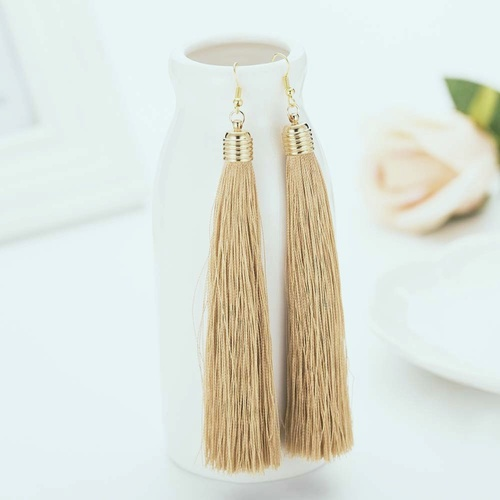 Earring/Long Tassel -Light Gold