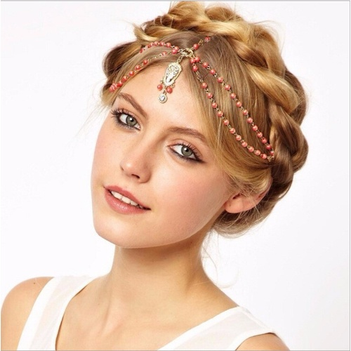 Beaded head chain - Red