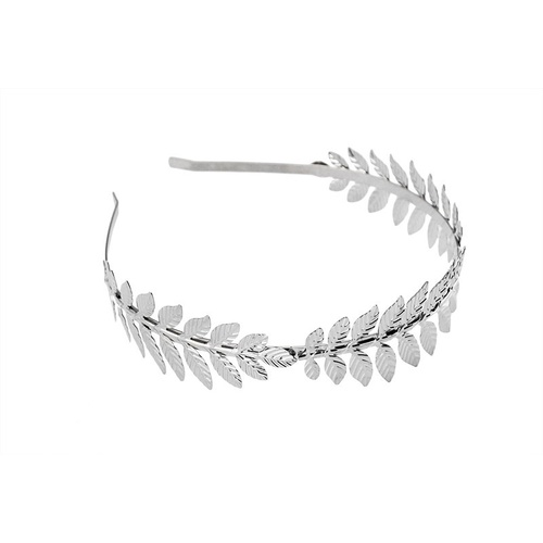 Metal Leaf Headband/Flat - Silver