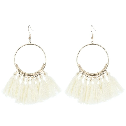 Earring/Hoop Tassel.02 - Off White