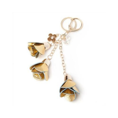 Key Chain/Leather Flowers - Gold