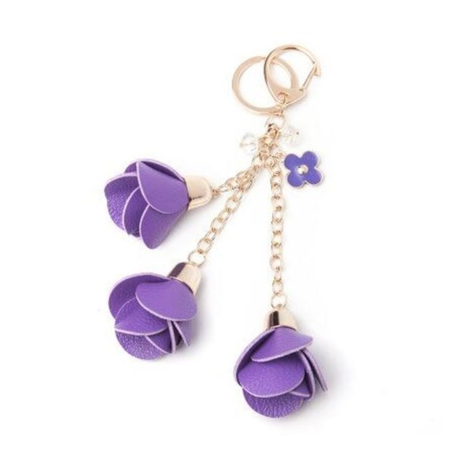 Key Chain/Leather Flowers - Purple