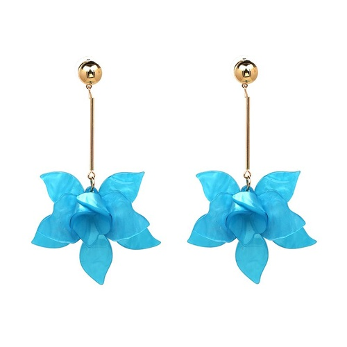 Earring/Resin Flower - Blue