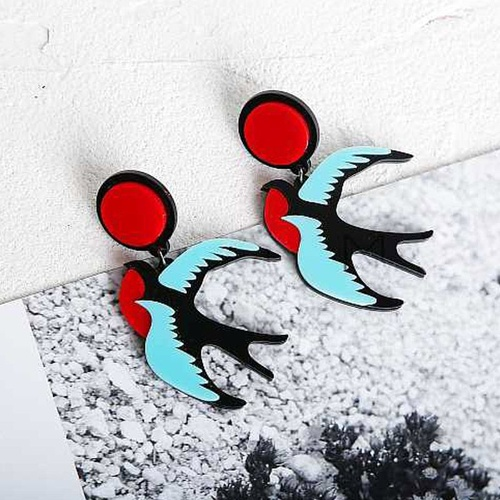 Earring/Acrylic Birds - Red/Black/Blue