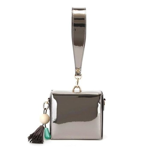 Clutch/Square/Patent - Pewter