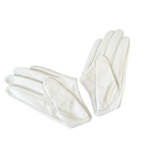 Gloves/Driving/Leather - White