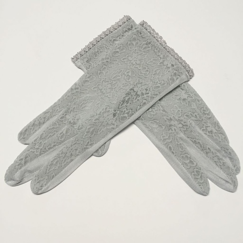 Lace/Silk Gloves - Grey