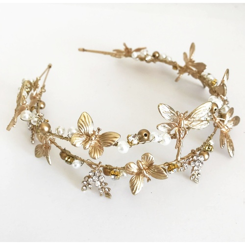 Metal Butterfly/Dragonfly Headband - Gold