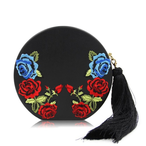Clutch/Round/Embroidered - Black