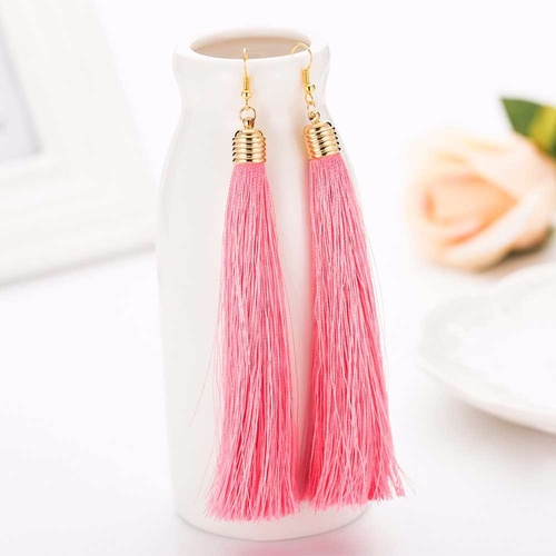 Earring/Long Tassel - Pink