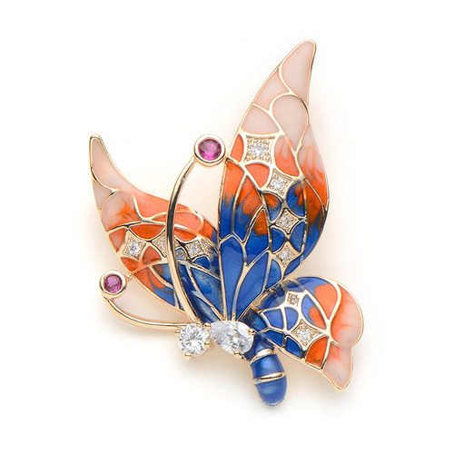 Brooch/Butterfly.02 - Royal/Orange