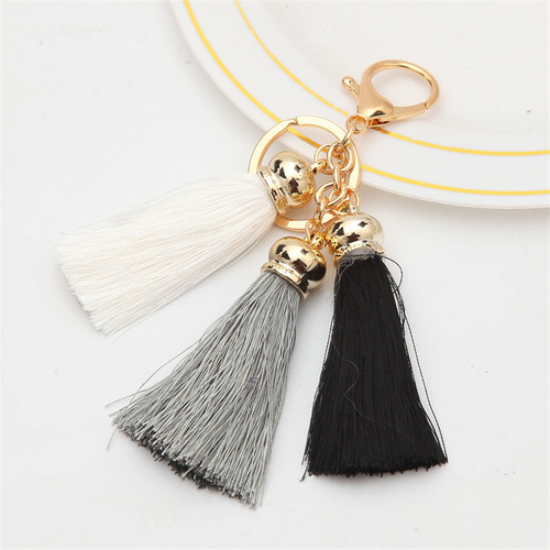 Key Chain/3 Tassels - Black/White/Grey