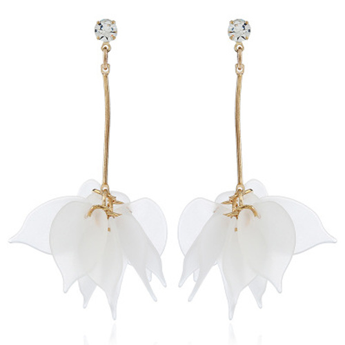 Earring/Drop Leaf - White
