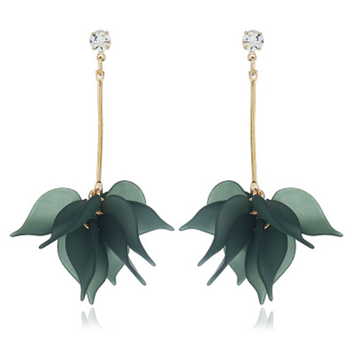 Earring/Drop Leaf - Green