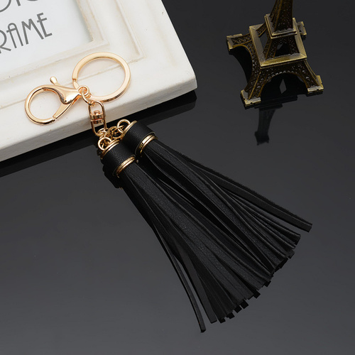 Key Chain/2 Leather Tassels - Black