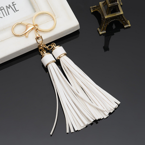 Key Chain/2 Leather Tassels - White