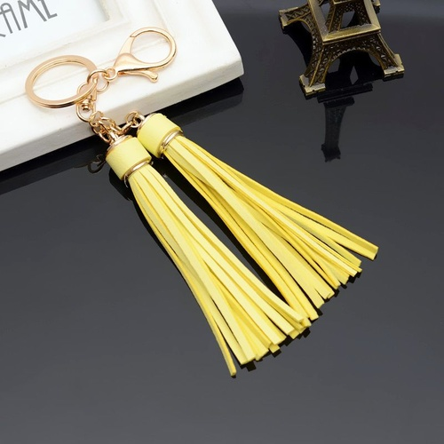 Key Chain/2 Leather Tassels - Yellow