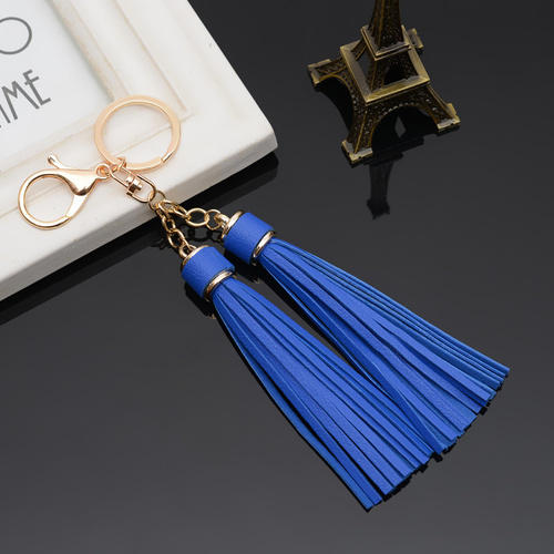 Key Chain/2 Leather Tassels - Royal