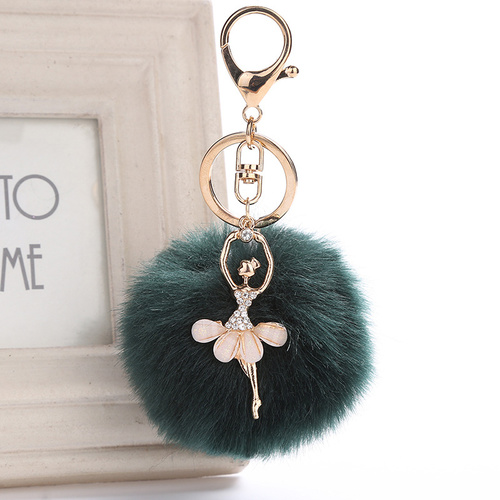Key Chain/Pom Pom - Pine Green
