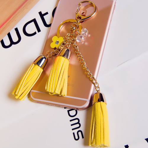 Key Chain/3 Leather Tassels - Yellow