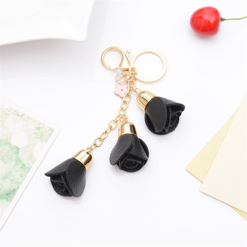 Key Chain/Leather Flowers - Black