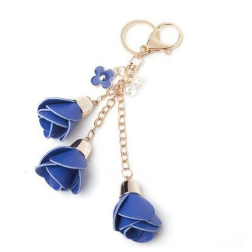 Key Chain/Leather Flowers - Royal
