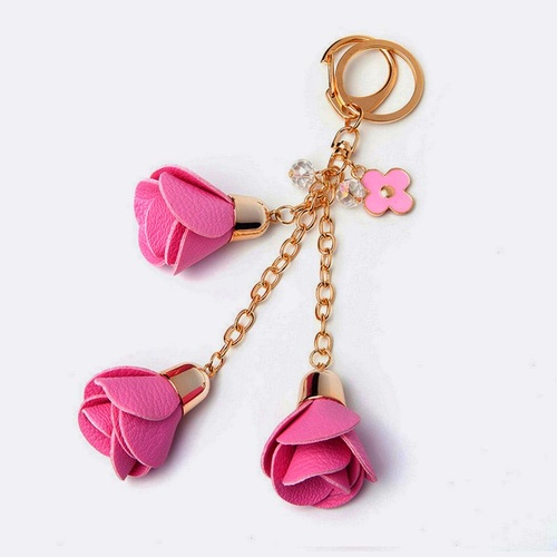 Key Chain/Leather Flowers - Fuchsia