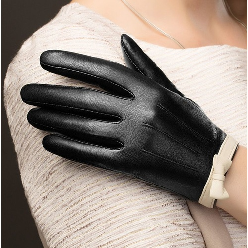 Gloves/Leather/Style 8 - Black/Off White