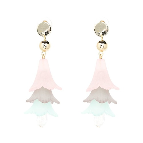 Earring/Resin Bells -Pink/Grey/Mint