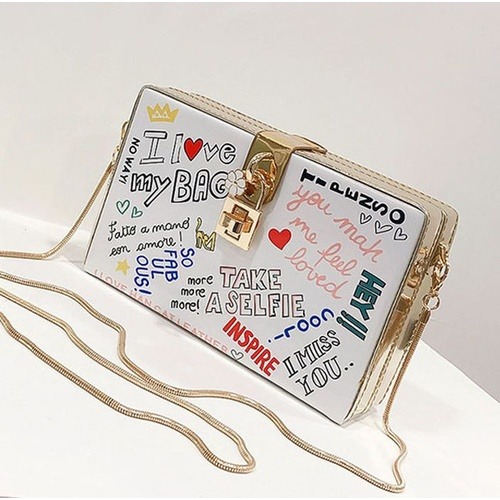 Clutch/Box/Graffiti - White