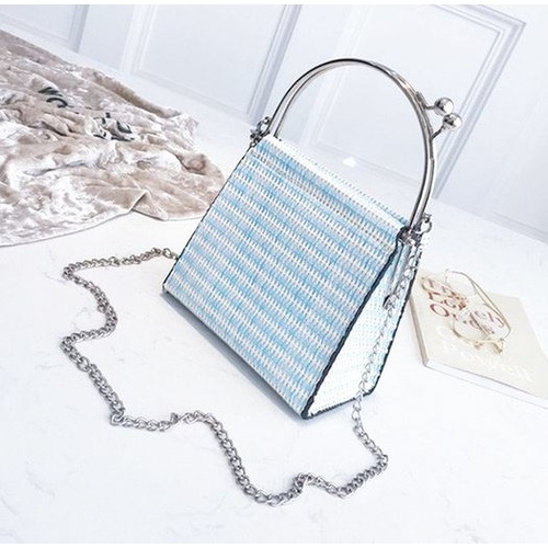 Bag/Purse Top - Blue/Off White