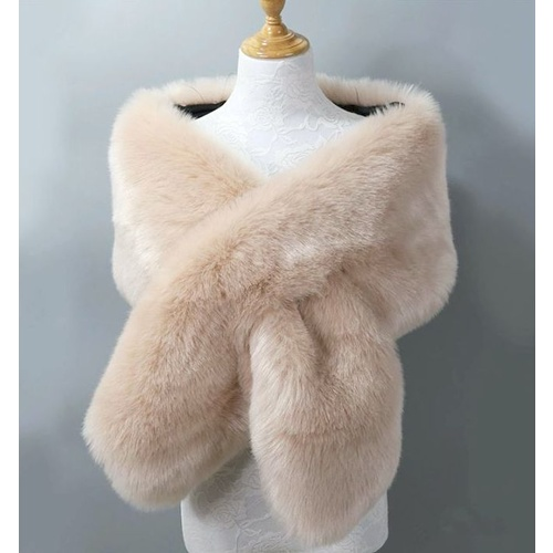 Faux Fur Stole - Cream