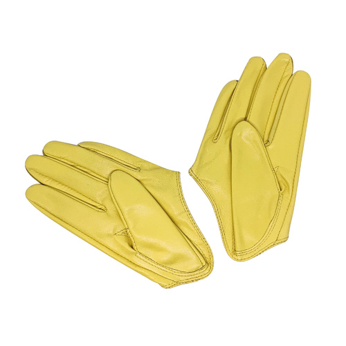 Gloves/Driving/Leather - Yellow