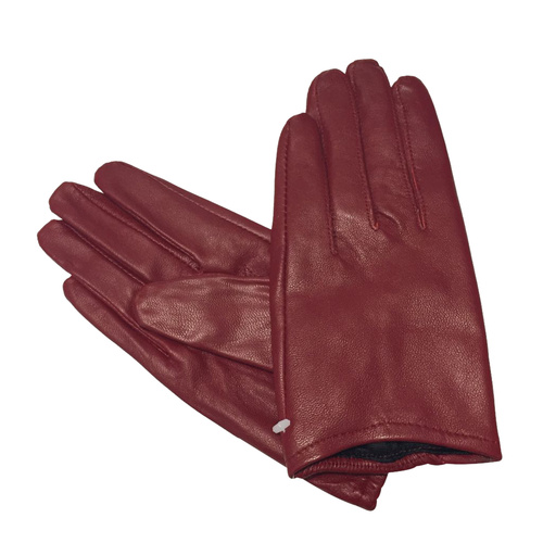 Gloves/Leather/Full - Burgundy