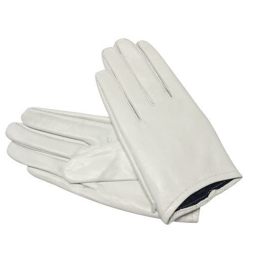 Gloves/Leather/Full - White