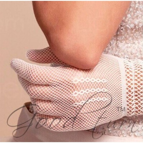 Crochet/Fishnet Gloves - White